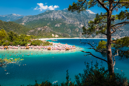 Oludeniz beach and blue clear water of Aegean sea, Turkey Stock Photo - 92159097