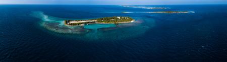 モルディブ、カアフ環礁の熱帯の島々の航空写真