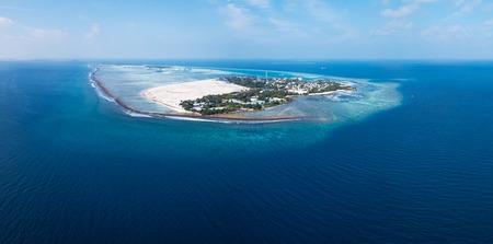 Aerial panorama of the island of Himmafushi, Kaafu atoll, Maldives