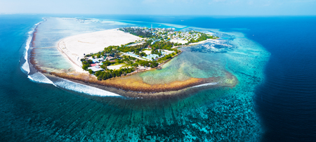 Aerial view of the tropical island of Himmafushi, Maldives