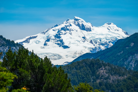 Mountain with snow and forest. City of Bariloche, Argentina