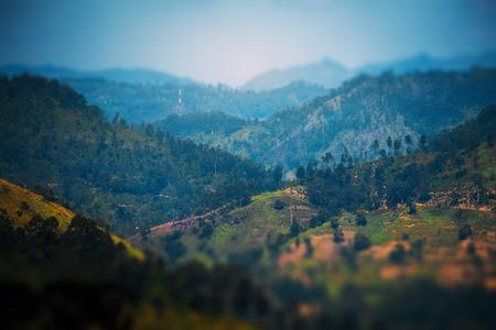 Mountains and tea plantations in region of town of Ella, Sri Lanka