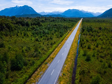 Aerial view of the asphalt road. Carretera Austral near the town of Chaiten, Chile