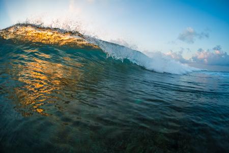 Perfect ocean wave brakes on shore during tropical calm sunrise. Jailbrake surf spot, Maldives Foto de archivo
