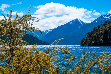 Bergen en meer van het Nationale Park van Nahuel Huapi, stad van Bariloche, Argentinië