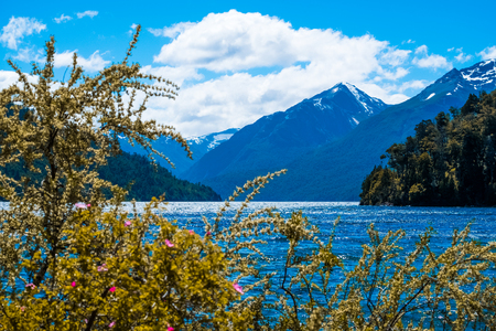 Mountains and lake of the National Park of Nahuel Huapi, town of Bariloche, Argentina