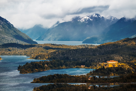 Lakes and mountains in the Lake district near the town of Bariloche, Argentina