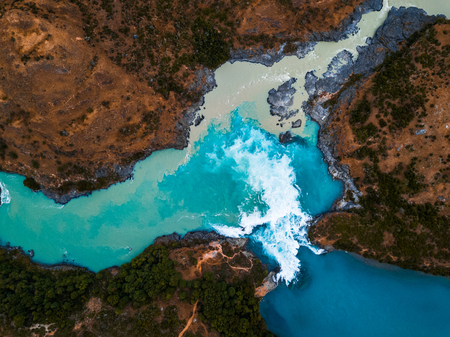 Aerial view of the confluence of the river of Baker (blue) and the river of Neff, Chile Archivio Fotografico