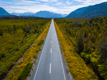 Aerial view of the asphalt road. Adventure road Carretera Austral near the town of Chaiten, Chile Stock Photo