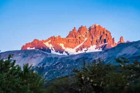 Cerro Castillo mountain during sunrise. Chile