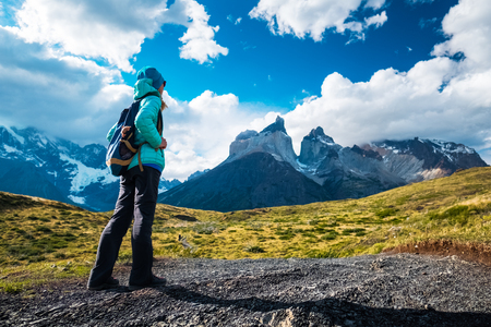 Hiker on the trail in Torres del Paine National Park, Chile Imagens