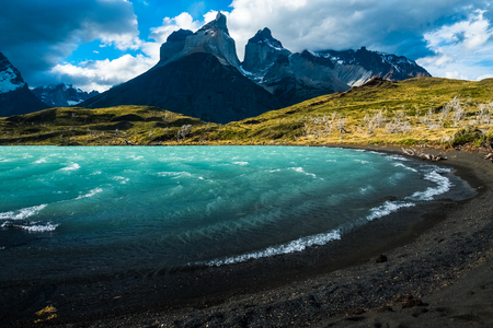 Torres del Paine National Park, turquoise lake and mountain, Chile