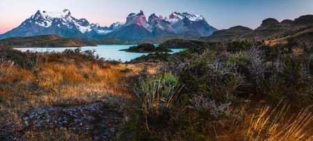 Mountains with blue lake and wild herbs on the foreground. Torres del Paine National Park. Chile