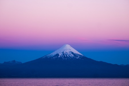 Volcano of Osorno during twiligth. Chile