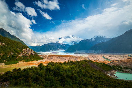 Glacier of Exploradores and mountain of San Valentin. Valley of Exploradores near the town of Puerto Rio Tranquilo, Chile Standard-Bild - 97139871