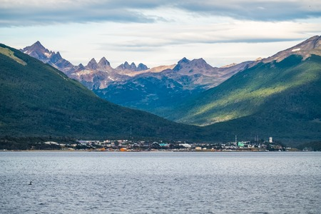 Town of Puerto Williams, the southernmost town in the world, view from Beagle Channel. Chile Imagens