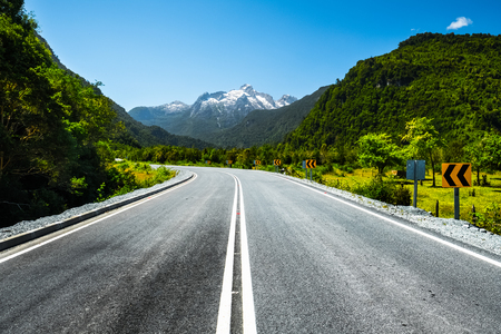 Adventure and scenic road named Carretera Austral, Chilean part of the road near the city of Hornopiren