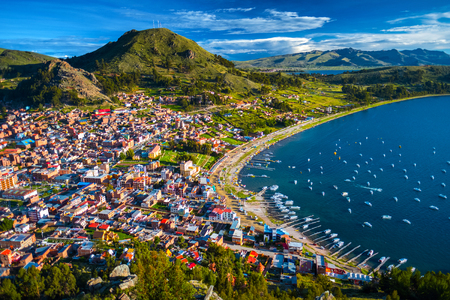 Town of Copacabana and the lake of Titicaca, Bolivia