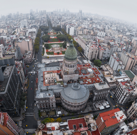 Aerial view of the City of Buenos Aires. Congress building and square. Argentina