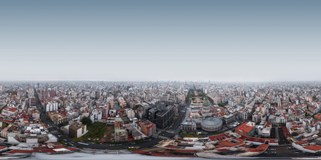 Spherical, 360 degrees, seamless, aerial panorama of the city of Buenos Aires near the Congress building and Congressional Plaza at rainy day, Argentina