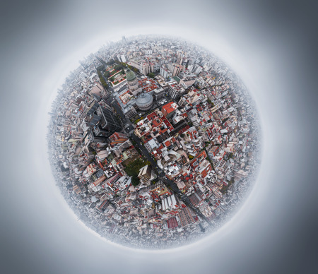 Aerial panorama in a form of a little planet of the city of Buenos Aires at a rainy day, Argentina. Area of the city near Congreso. Foto de archivo
