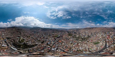Spherical, 360 degrees, seamless aerial panorama of the city of La Paz during sunny day. Bolivia Фото со стока