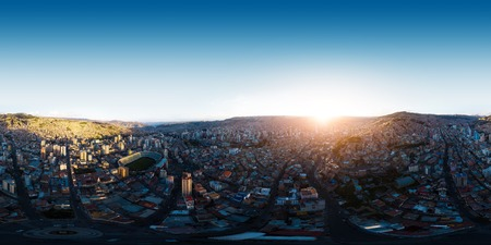 Spherical, 360 degrees, seamless, aerial panorama of the city of La Paz during sunset, Bolivia