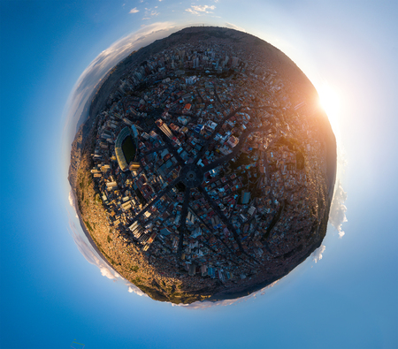 Little planet panorama of the city of La Paz during sunset. Bolivia
