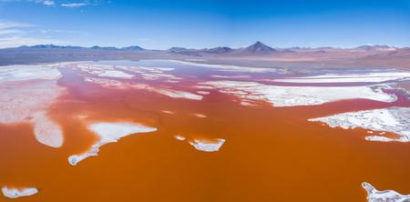 Aerial panorama of the Laguna Colorada, Sud Lipez province of Bolivia