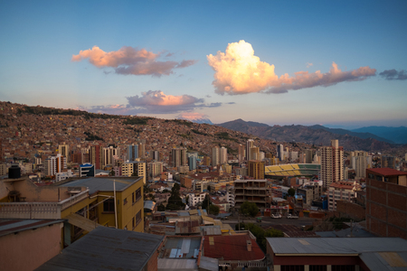 City of La Paz during sunset, Bolivia. Stock Photo