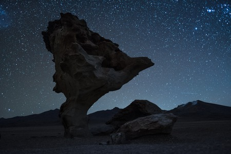 Rock formation named Arbol de Piedra (Stone Tree) with starry sky on the background. Bolivia. Image has some noise due to high ISO.