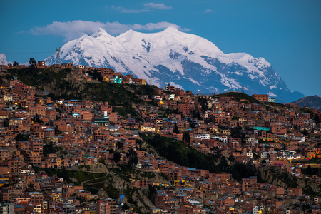 City of La Paz and mountain of Illimani at twilight, Bolivia