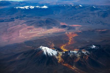 Aerial view of Bolivian mountains. Desert area near Eduardo Avaroa National Reserve, Bolivia Фото со стока
