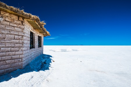 Building made from salt in the middle of Salar de Uyuni. Bolivia