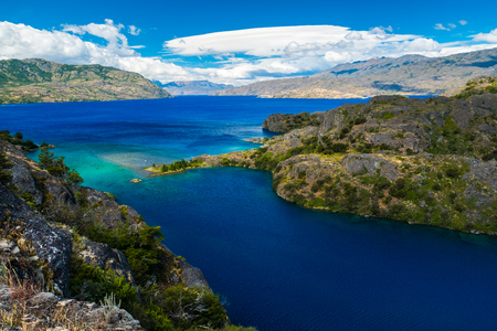 Lake of Cochrane with crystal clear blue water during day. Patagonia, Chile