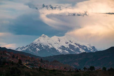 City of La Paz and mountain of Illimani, Bolivia