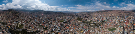 Aerial panorama of the city of La Paz during sunny day. Bolivia