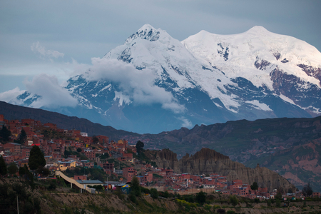 Mountain of Illimani and the city of La Paz, Bolivia
