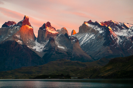 Torres del Paine National park at sunrise. Chile