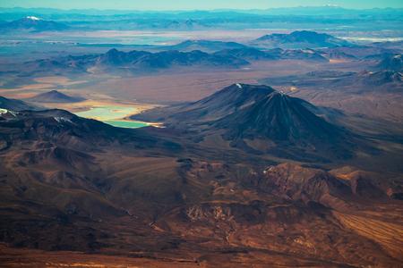 Aerial view of Eduardo Avaroa National Reserve, conical volcano of Licancabur is on the right. Bolivia Reklamní fotografie