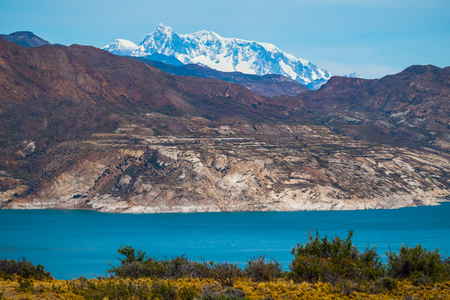 Patagonian landscape with mountains and blue lake. Argentina 写真素材