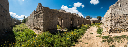Panorama of the streets of an old Bolivian village. Abandoned houses made from simple materials in the old part of the village of Poopo, Bolivia