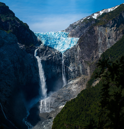 Hanging Glacier in the Quelat National Park, Patagonia, Chile Stock Photo