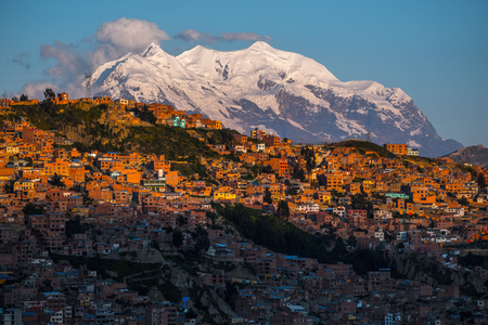 City of La Paz and mountain of Illimani during sunset, Bolivia
