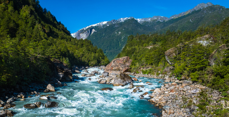 Rapid river with in Patagonian mountains, Chile