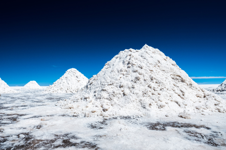 Heaps of salt in Salar de Uyuni, Bolivia Stock Photo