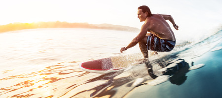Surfer rides the glassy speedy wave in tropics at sunrise. Costa Rica