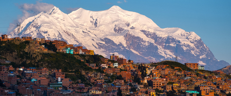 Panorama of the city of La Paz with mountain of Illimani (Aymara) on the background. Bolivia