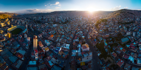 Aerial panorama of the city of La Paz during sunset. Bolivia