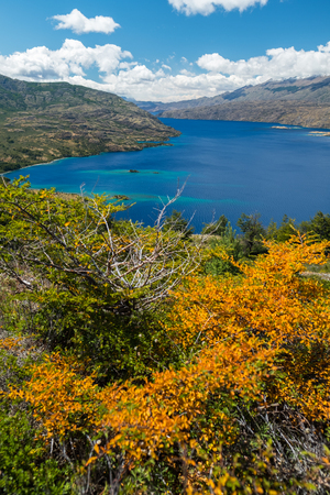 Lake of Cochrane with clear blue water during sunny day. Patagonia, Chile 写真素材